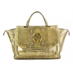 21ca45fc896 Gucci Gold Metallic Python Leather 1973 Top Handle Tote Bag