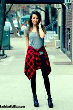 Bits of grunge fashion are still seen today, like the flannel around the waist and the boots in this outfit