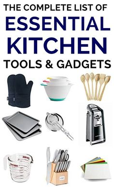 Essential Gadgets and gizmos will transform your kitchen. Having the right tools makes cooking so much more enjoyable and time saving. These must have kitchen gadgets can turn you into a master chef o Must Have Kitchen Gadgets, Kitchen Must Haves, Kitchen Tools And Gadgets, Cooking Gadgets, Cooking Tools, Gadgets And Gizmos, Kitchen Items, Kitchen Tools List, Kitchen Utensils List