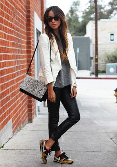 I like the idea of dressing down a structured blazer with a loose tank/t-shirt and sneakers...