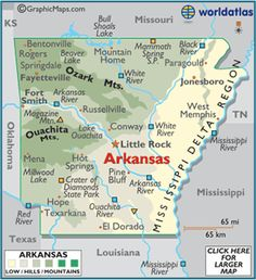 Fun & Interesting Facts on Arkansas. Here are 20 must know facts about the great state of Arkansas. Map Of Arkansas, Little Rock Arkansas, Arkansas Camping, Jasper Arkansas, Arkansas Razorbacks, Arkansas Vacations, Eureka Springs, Hot Springs, Fort Smith