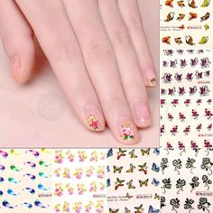 50 X Mixed Flowers Butteryfly Nail Art Decals Water Transfer Stickers Decoration