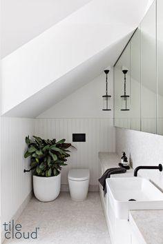 Attic Bathroom, Upstairs Bathrooms, Bathroom Renos, Laundry In Bathroom, Bathroom Renovations, Bathroom Interior, Narrow Bathroom, Bad Inspiration, Bathroom Inspiration
