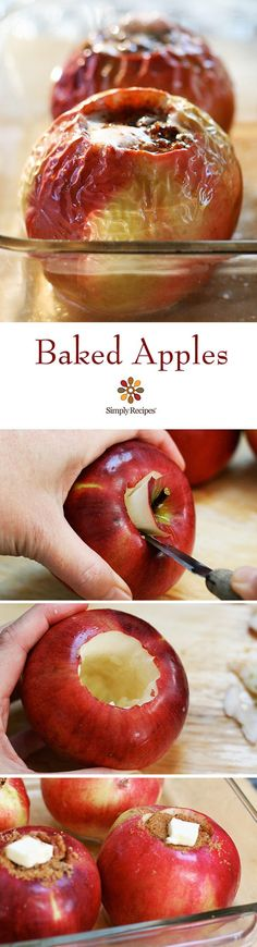 Baked Apples ~ Classic baked apples filled with pecans, cinnamon, raisins, butter, and brown sugar. ~ SimplyRecipes.com