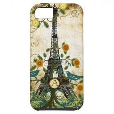 Monogram Vintage Bird Effiel Tower iPhone 5 Case lovely flowers