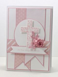 SU Crosses of Hope, case by white embossing and sponging using Vintage Vogue edge stamp or other stamp to create cross - Wendy Schultz ~ Easter Cards, Crafts & Decor. Confirmation Cards, Baptism Cards, Handmade Christening Cards, Baby Cards, Kids Cards, First Communion Cards, Tarjetas Diy, Christian Cards, Sympathy Cards