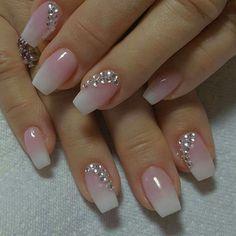 60 Wedding Nail Art for brides ideas - Designer nägel - Best Nail World Cute Acrylic Nails, Acrylic Nail Designs, Cute Nails, Pretty Nails, Nail Art Designs, My Nails, Pink Nails, Gradient Nails, Wedding Nails For Bride