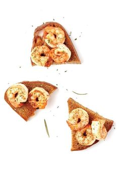 From SAVEUR issue no. 165 Shrimp are sautéed in smoky bacon fat and served simply on grilled bread with rosemary for this popular snack at Venice, Italy's Da Fiore restaurant.