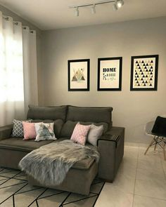 Sala Living Room Sofa Design, Living Room Decor, Bedroom Decor, Rectangular Living Rooms, First Apartment Decorating, Elegant Living Room, Home Office Decor, Home Decor, House Rooms