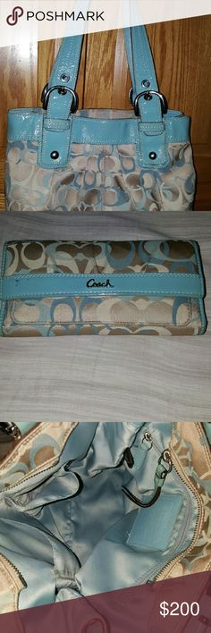 RARE! Collectors Edition Coach w/matching wallet BEAUTIFUL, VERY CLEAN,VERY WELL TAKEN CARE OF RARE TEAL W/ CREAM COACH PURSE WITH MATCHING WALLET👛 Colors are Just as vibrant and fabric just as silky as the day my husband gave it to me several years ago. Very well taken care of Teal and Cream coach  absolutely in perfect condition, (slight wear on handle grip but barely noticeable)  comes with matching wallet absolutely beautiful color According to Coach, it's worth more than what I'm…
