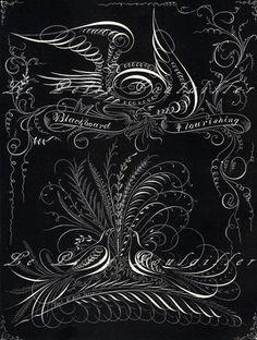 Blackboard and Handwriting Flourishings 1873 Victorian Engraving