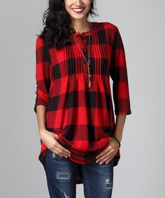 Another great find on #zulily! Red Buffalo Check Notch Neck Pin-Tuck Tunic #zulilyfinds
