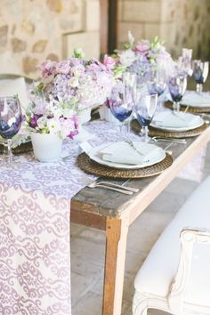 printed runner and layered pastels | Photography by gladysjem.com | Design + Planning by charmedeventsplanning.com | Floral Design by poppyspetalworks.com | Read more - http://www.stylemepretty.com/2013/06/11/spring-inspired-love-shoot-from-charmed-events-group-gladys-jem-photography/