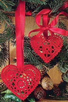 A pair of ornamental lacy hearts for the Christmas tree. We also do a Valentine tree at our house on Valentine's Day. Won't these look great on it!  ♥ ¯_(ツ)_/¯ ♥