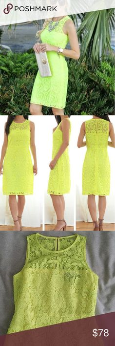 """J.Crew Collection Lace Shift Dress Neon yellow green color lace overlay shirt dress. Stunning shape and look. High neckline and knee length fit. Hidden zipper in back. Like new condition. Length: 36"""" Bust: 16"""" across pit to pit  Waist: 14"""" across. J. Crew Dresses Midi"""