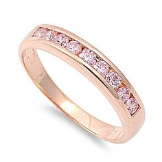 Sterling Silver Rose Gold / Pink CZ Half Eternity Ring Band Sz 4-10 104558123456