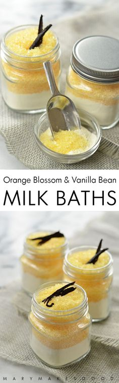 can make these Orange Blossom & Vanilla Bean Milk Baths with just five all-natural ingredients. Great for gifts or self-care!You can make these Orange Blossom & Vanilla Bean Milk Baths with just five all-natural ingredients. Great for gifts or self-care! Bath Recipes, Soap Recipes, Diy Spa, Diy Cosmetic, Diy Scrub, Milk Bath, Bath Water, Homemade Beauty Products, Beauty Recipe