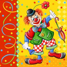 "Serviettes, 3 plis pli 33 cm x 33 cm ""Clown"" - croquis Halloween Clown, Send In The Clowns, Clown Faces, Circus Clown, Vintage Birthday, Stencil Art, Toys Shop, Illustrations, Watercolor Paintings"