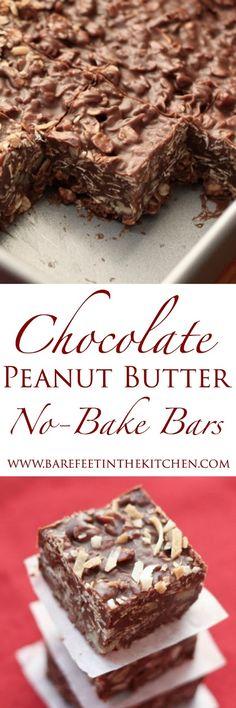 Chocolate Peanut Butter Coconut Bars - get the recipe at barefeetinthekitchen.com