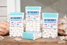 Retiremints Tic Tac Labels, Perfect for Retirement Party, Dad, Man, Fishing, Fish, Blue, Water, Mints, Fresh, Favor by CaffeinatedSquirrel on Etsy