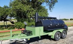 """This impressively large 36"""" diameter triple door Horizon trailer smoker was delivered to our customer in Doss, Texas! This particular customer is a retired veteran and requested olive drab green paint on the trailer. It also has storage and burners! He's equipped and ready to smoke some Q! Are you? Order yours today! 1-866-468-4066 #BeastMode #HorizonSmokers #BBQ Trailer Smokers, Smoker Trailer, Stoves, Bbq Grill, Outdoor Cooking, Grills, Trailers, Cooker, Smoking"""