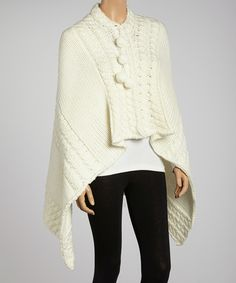 Look at this Ecru Pom-Pom Wool-Blend Poncho on #zulily today!