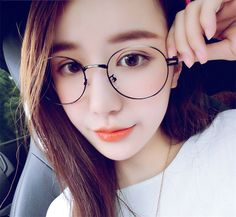 korean round glasses in black