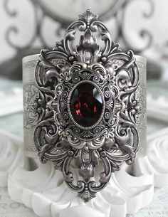 JANUARYS PASSION Victorian vintage gothic cuff bracelet in aged silver with Swarovski garnet, January birthstone.