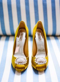 Yellow jewel-toned shoes: http://www.stylemepretty.com/2011/09/30/wilmington-wedding-by-veil-and-bow-salt-harbor-designs/ | Photography: Veil & Bow - http://veilandbow.com/