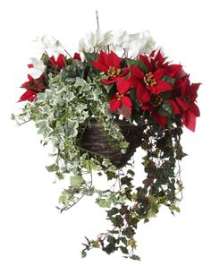 """Artificial Nature - 10"""" Artificial outdoor hanging basket with red poinsettia, white cyclamen and ivy, £54.95 (http://www.artificialnature.co.uk/10-artificial-outdoor-hanging-basket-with-red-poinsettia-white-cyclamen-and-ivy/)"""