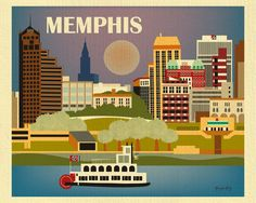 Memphis, Tennessee is available in an array of finishes, materials, and sizes, this retro inspired wall art will make Memphis feel close to your heart with its bright color palette and unique design.
