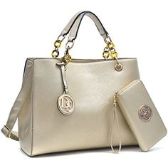 MMK collection Women Fashion Matching Satchel handbags with wallet(02-2526)~Designer Purse for Women ~ Perfect Women Purse and wallet~ Beautiful Designer Handbag Set (02-2526 (02-168) GOLD) * Additional info @
