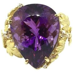 Preowned 31.49 Ct Pear Shaped Amethyst Cocktail Ring W/dia In 18k Yellow Gol