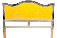 Yellow Velvet Headboard with Mirror Frame