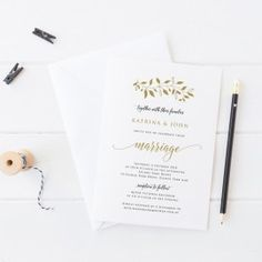 Rustic Gold Leaf Wedding Invitation, Professionally Printed, Peach Perfect Australia. #wedding #invitation #goldinvitation #peachperfect