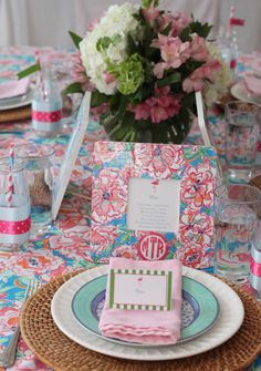 {Mirabelle Creations Party} Monogram & Lilly Party - Place Setting
