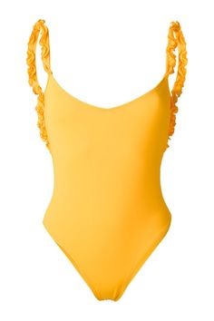 Make a splash in a bright orange swimsuit from La Reveche. The ruffled straps give a feminine touch while the low back keeps things sexy.