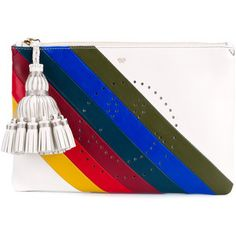 Anya Hindmarch Georgiana Striped Rainbow Smiley Perforated Leather Clutch In Off White Blue Clutch, White Clutch, Blue Purse, Leather Clutch Bags, Leather Purses, Leather Handbags, Leather Tassel, Rainbow Bag, Shopping