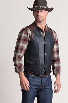 Garrison Bison Leather Vest with Concealed Carry Pockets - Big & Tall - Black/Mahogany Western Vest, Cowboy Vest, Biker Leather, Real Leather, Vest Jacket, Vest Men, Concealed Carry, Jeans, Mens Fashion