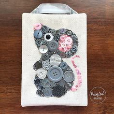 Button Art - Grey Mouse - Nursery Decor, Button Artwork, Button Animal, Art for Kids, Wall Hanging, Mouse Art, 5x7, Animal Decor, Wall Decor
