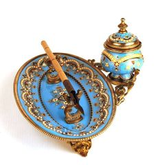 Antique Napoleon III Porcelain and Enamel Encrier w/Tray and Pen from Paris Chateau on Ruby Lane