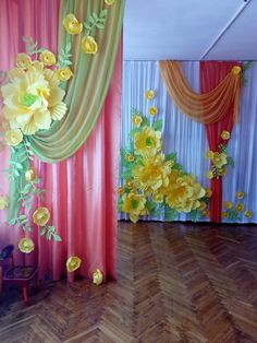 Baby Birthday Decorations, Stage Decorations, Balloon Decorations, Paper Flower Tutorial, Paper Flowers Diy, Flower Crafts, Diy Home Crafts, Crafts For Kids, Merry Christmas Gif