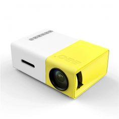 YG-300 LCD Mini 1080P Portable LED Projector Home Cinema Equipment US Plug Yellow & White