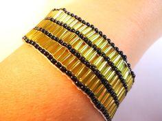 beaded bracelet loom bracelet in lime green by VazJewelryOriginals