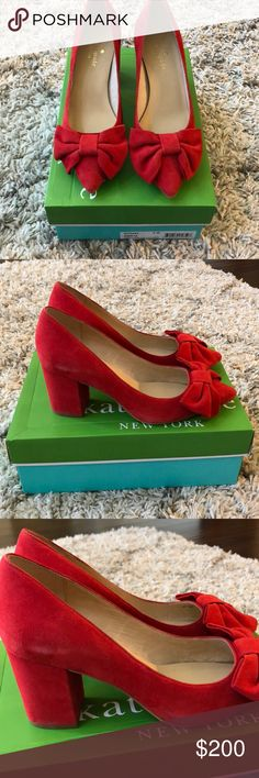 Kate Spade Size 6 Red Suede Bow Heels Beautiful Kate Spade size 6 red suede heels with bows. They are brand new but there is some wear on the sides (pictured) from being in the box. kate spade Shoes Heels