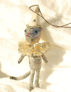 Spun cotton Holiday Party Cat ornament OOAK Vintage craft