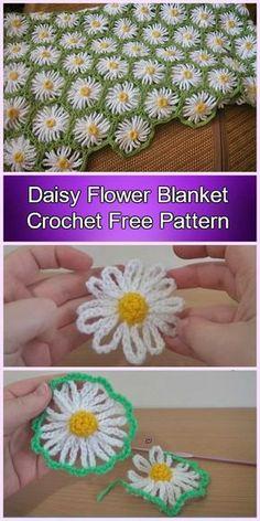 Easy Daisy Flower Blanket Crochet Free Pattern-Video by vilma Crochet Feather, Crochet Daisy, Manta Crochet, Knit Or Crochet, Crochet Socks, Crochet Flower Patterns, Crochet Blanket Patterns, Crochet Flowers, Flower Motif