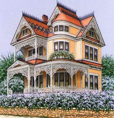 Sue Wall - Pet Portraits and Home Portraits - Traditional Miniature Paintings Beautiful Buildings, Beautiful Homes, Victorian Style Homes, Victorian Art, Victorian Architecture, Historic Architecture, Classic House, Old Houses, Nice Houses