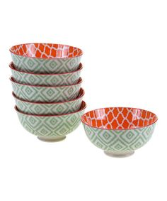 Look what I found on #zulily! Green Ikat 4.75'' Bowl - Set of Six #zulilyfinds