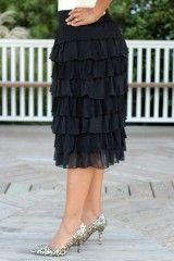 "Black Knee Length ""Esther"" Layered Skirt...I love this so much!"